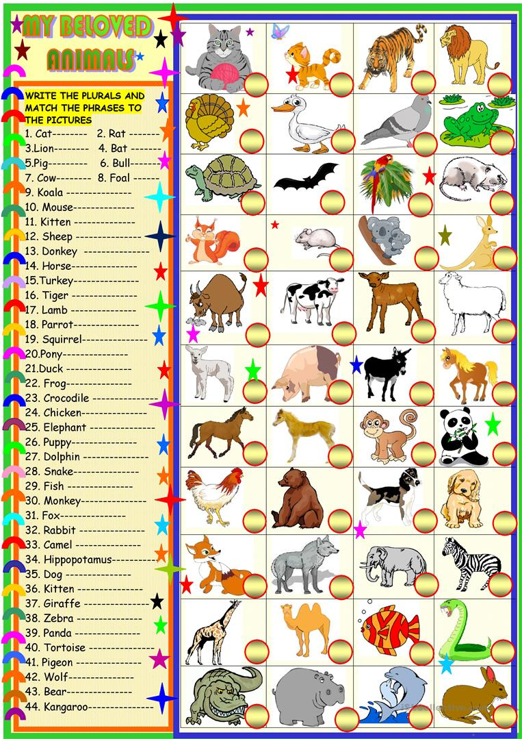 my beloved animals plurals and matching worksheet free esl printable worksheets made by teachers. Black Bedroom Furniture Sets. Home Design Ideas