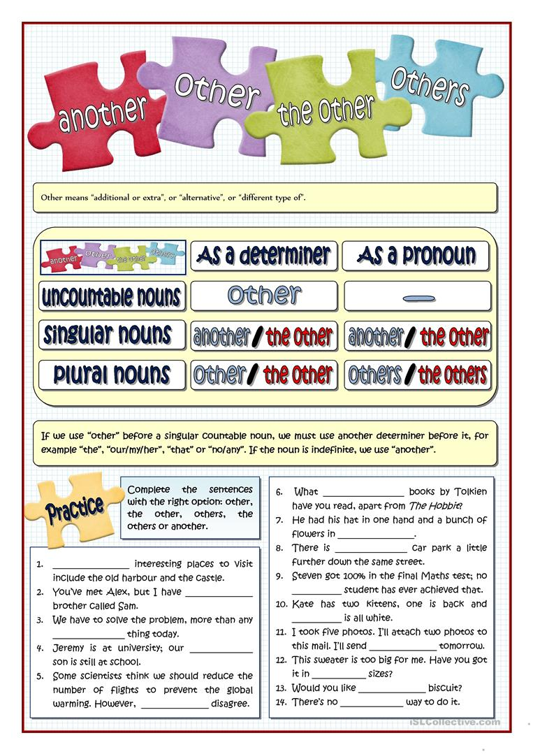OTHER - ANOTHER - THE OTHER - OTHERS - English ESL Worksheets