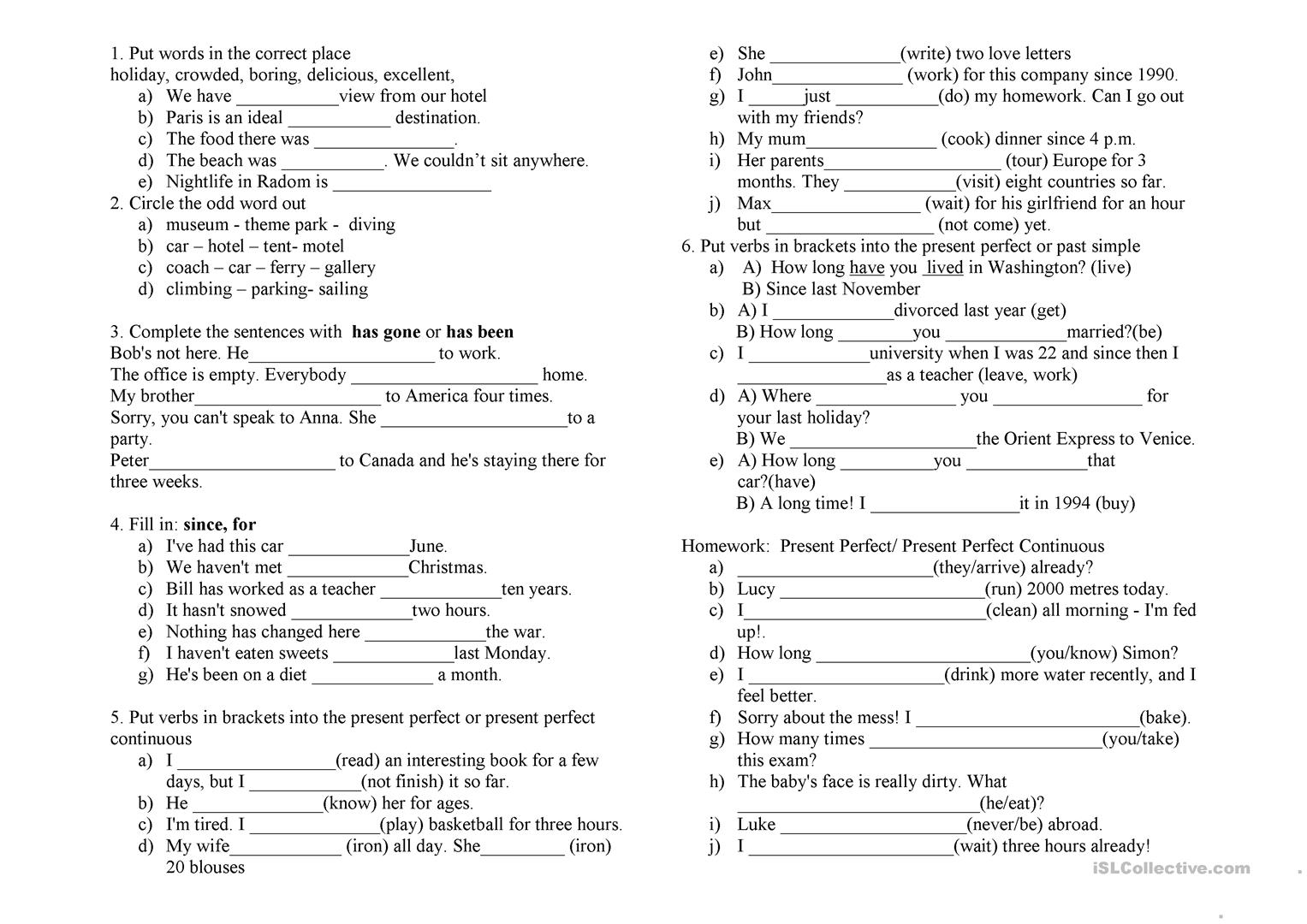 36 FREE ESL Present perfect or past simple tense worksheets