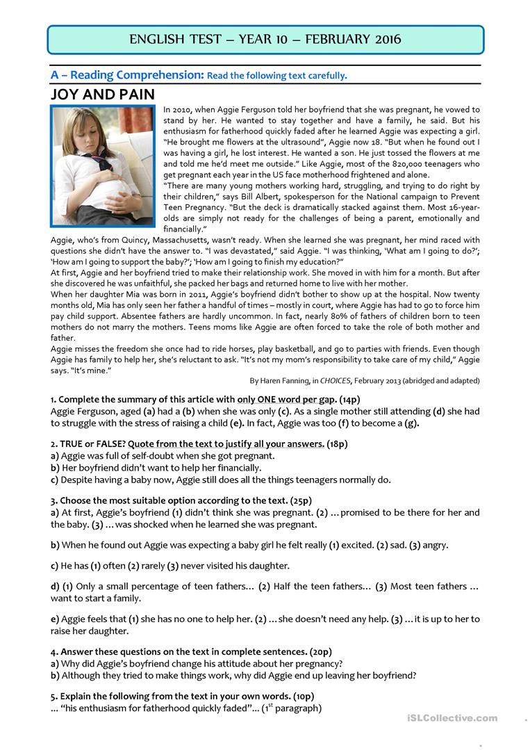 - SINGLE TEEN MOTHERS - 10th Grade TEST - English ESL Worksheets For