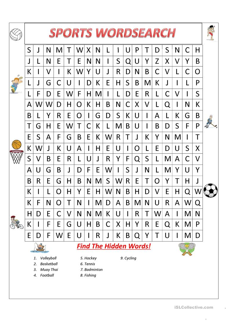image relating to Sports Word Search Printable titled Sporting activities Wordsearch! - English ESL Worksheets