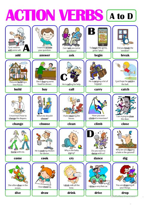Action Verbs Custom Pictionary  Action Verb Set 1  From A To D Worksheet  Free .