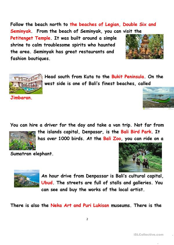 Bali Video and Reading Lesson