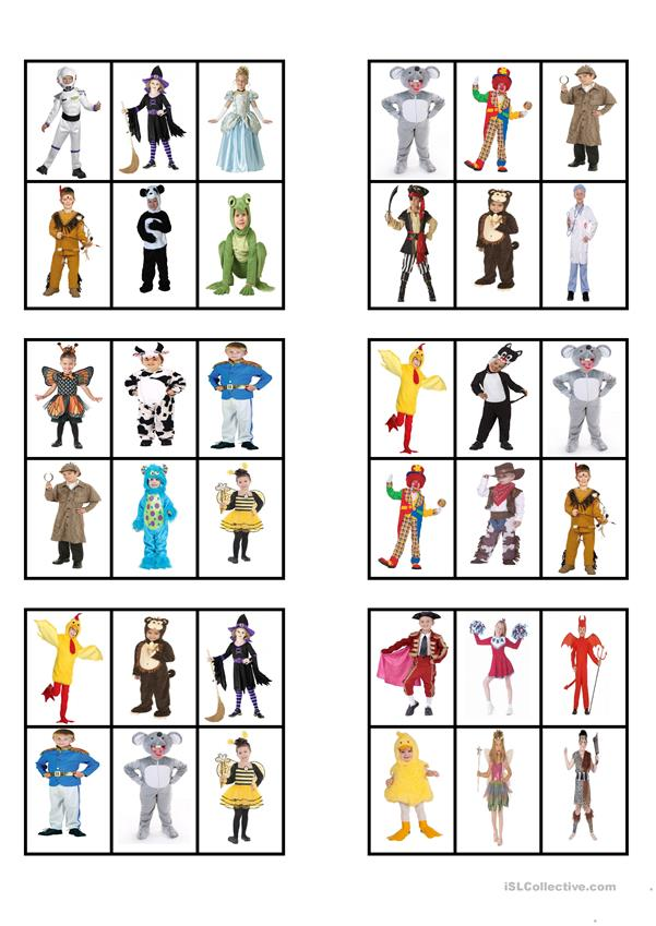 CANIVAL COSTUMES - BINGO CARDS