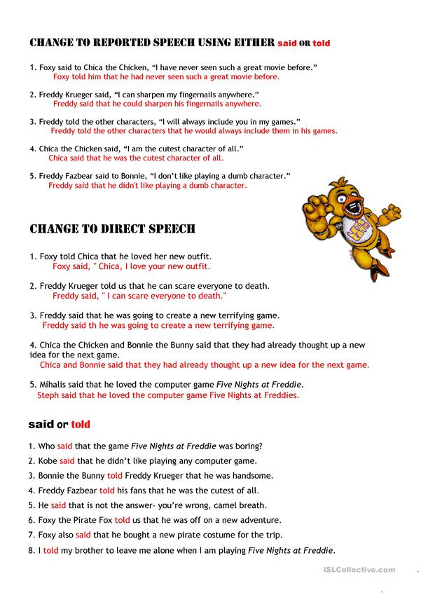 KEY:Reported Speech 3 pages starring Freddy Krueger