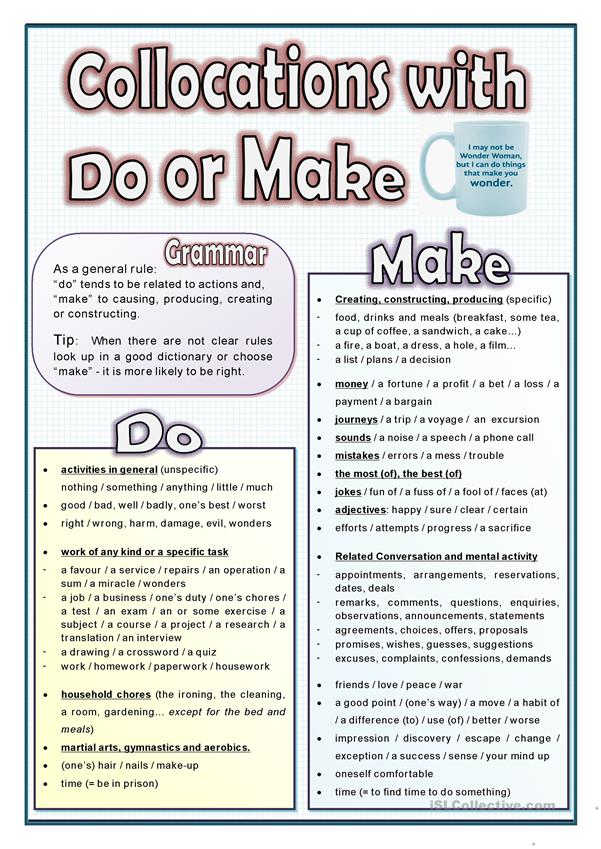 MAKE OR DO - COLLOCATIONS LIST