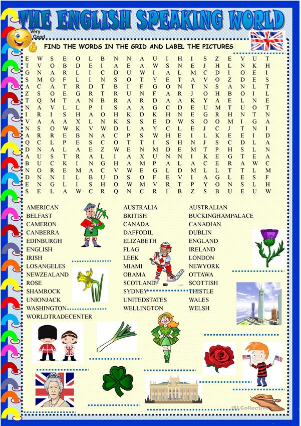 The English speaking world : wordsearch