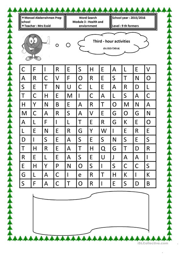 The enviornment wordsearch