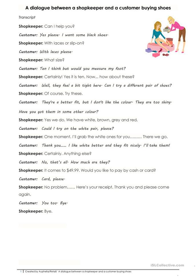 A dialogue between a shopkeeper and a... - ESL worksheets