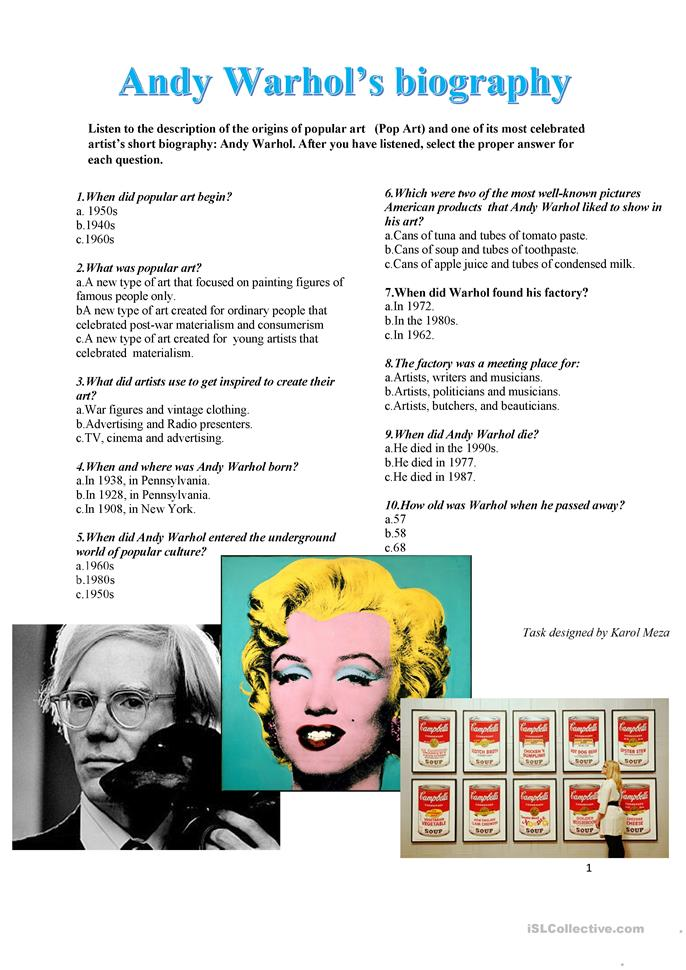 andy warhol bio and contributions towards