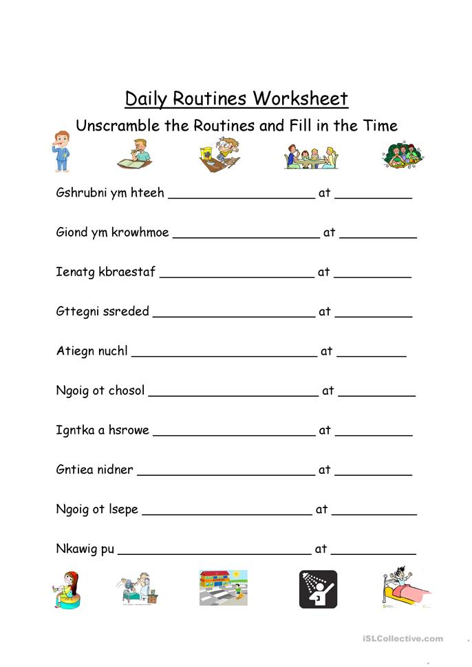 Daily Routines Unscramble and Times - ESL worksheets