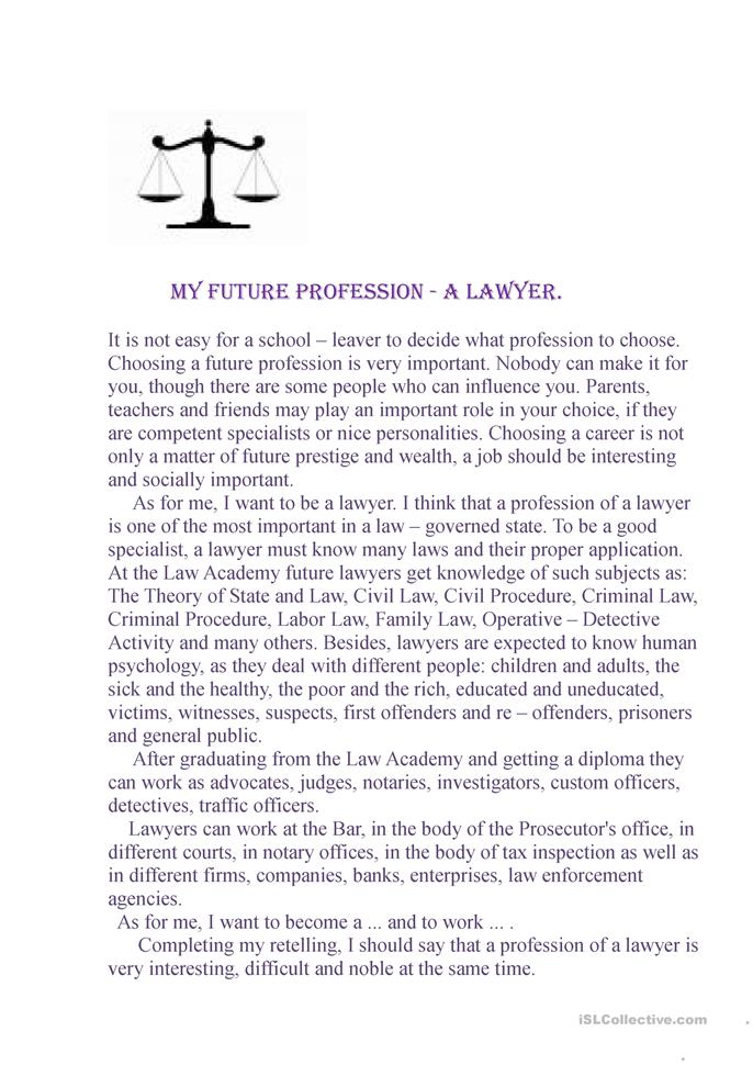 Future Profession - a Lawyer - ESL worksheets