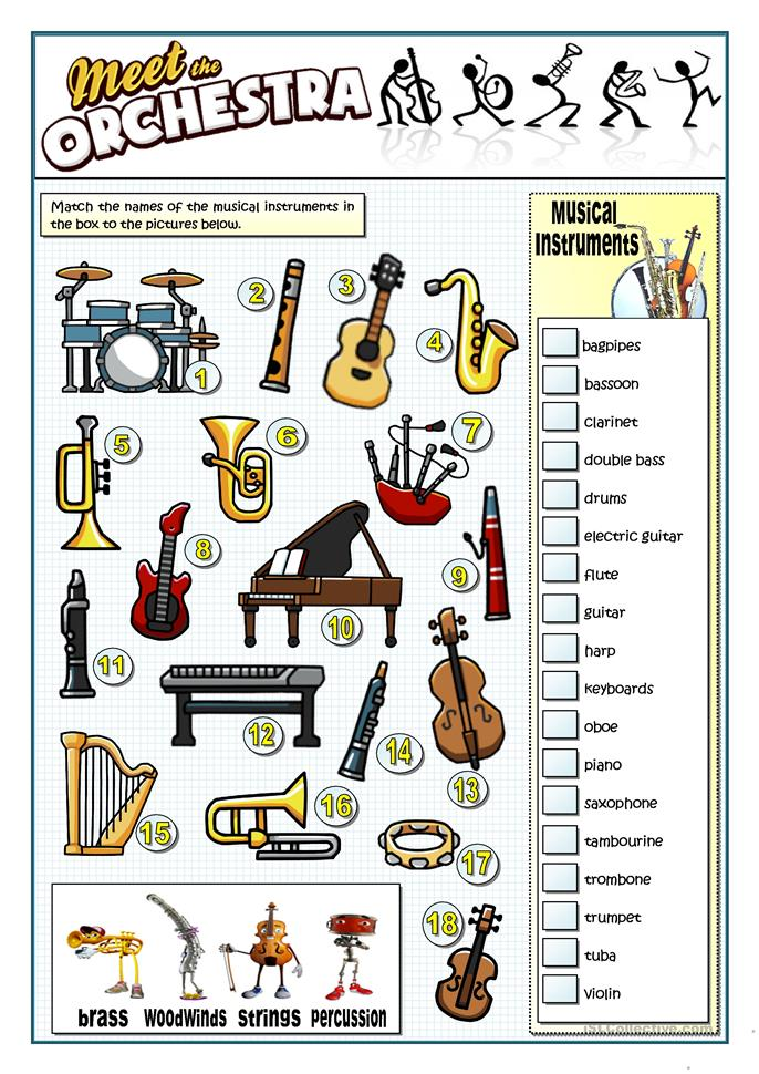 instruments of the orchestra worksheet