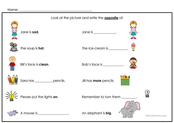 math worksheet : opposites worksheet  free esl printable worksheets made by teachers : Kindergarten Opposites Worksheet