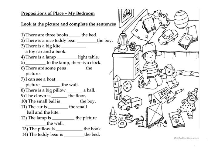 Prepositions of Place My Bedroom worksheet Free ESL printable – Prepositions of Place Worksheet