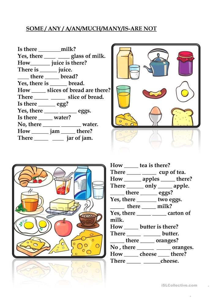 SOME-ANY-A-AN-MUCH-MANY-IS-ARE-NOT Worksheet