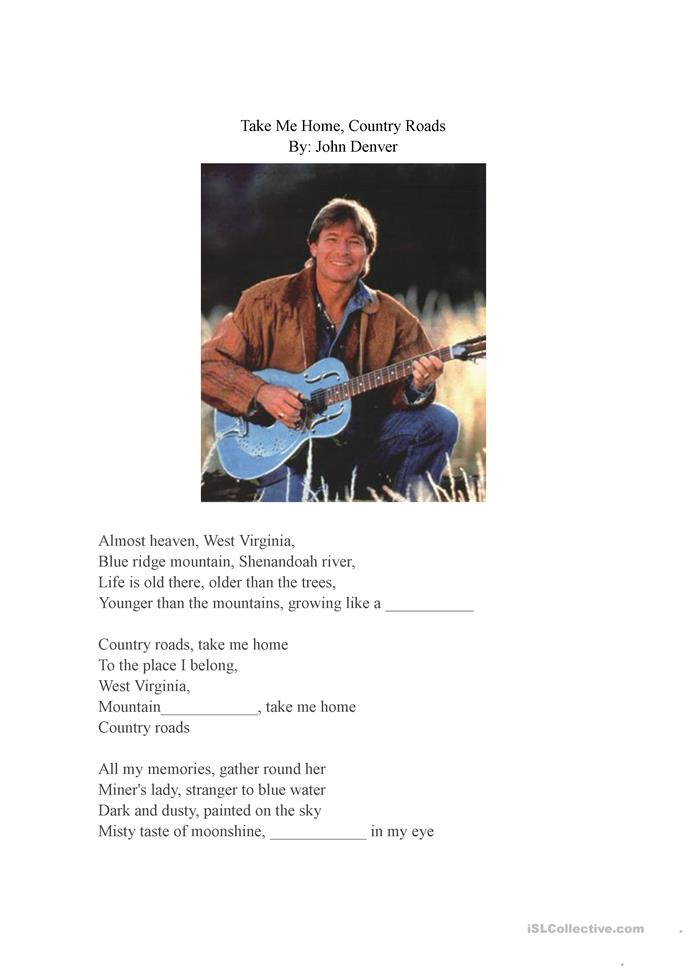 Take Me Home, Country Roads - ESL worksheets