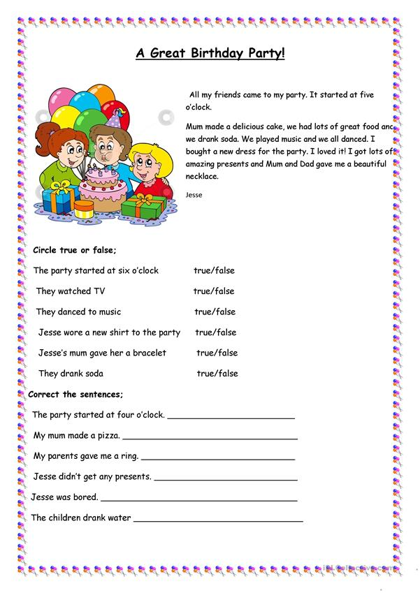 a great birthday party worksheet free esl printable worksheets made by teachers. Black Bedroom Furniture Sets. Home Design Ideas