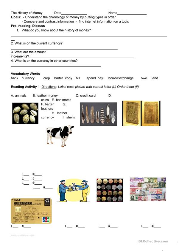 history of money worksheet free esl printable worksheets. Black Bedroom Furniture Sets. Home Design Ideas