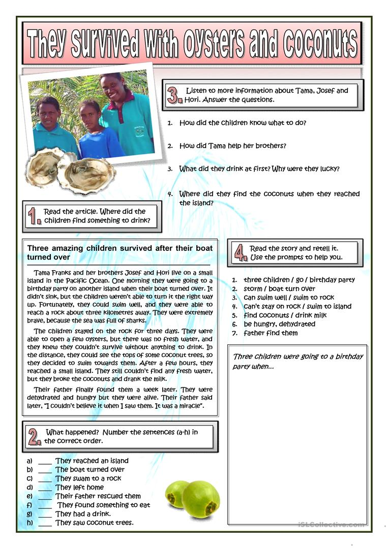 Surviving With Oysters And Coconuts Worksheet Free Esl Printable