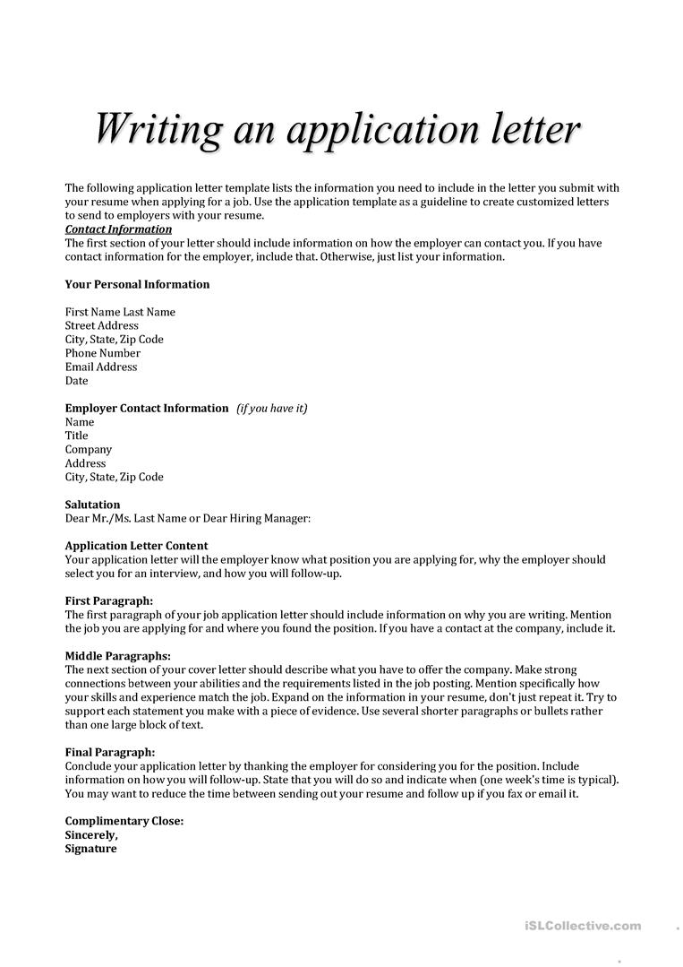 Cover Letter For City Job from en.islcollective.com