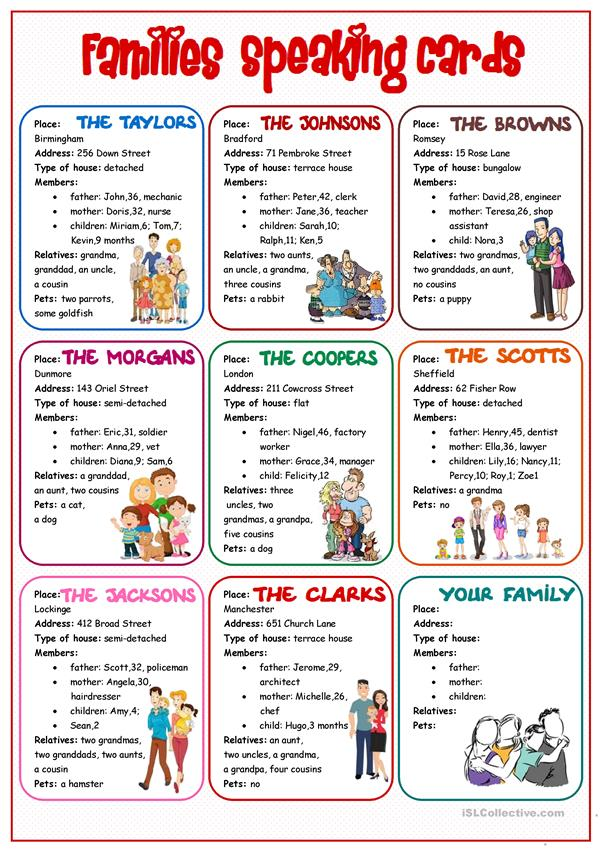 Families Speaking Cards