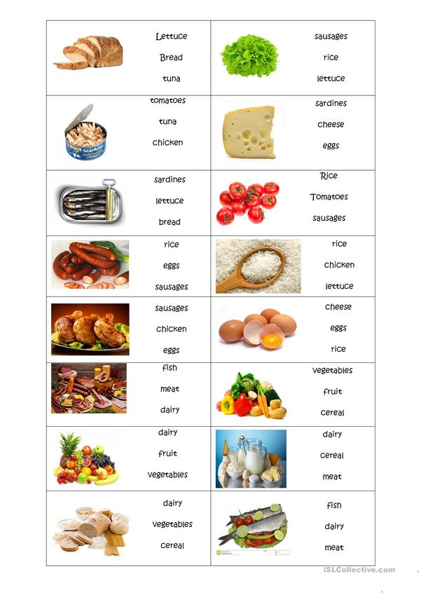 food- choose the correct word