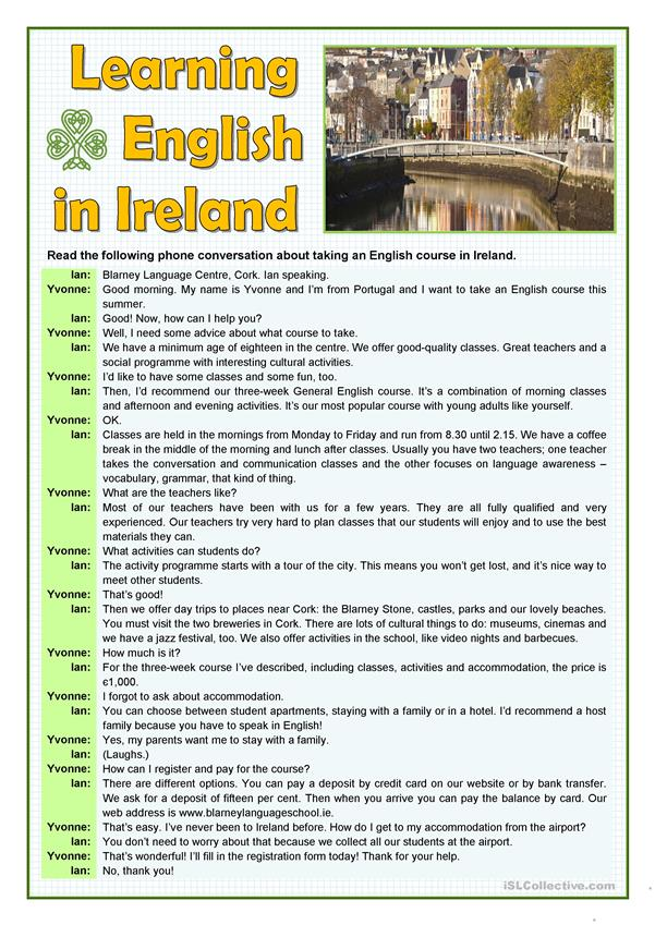 LEARNING ENGLISH IN IRELAND
