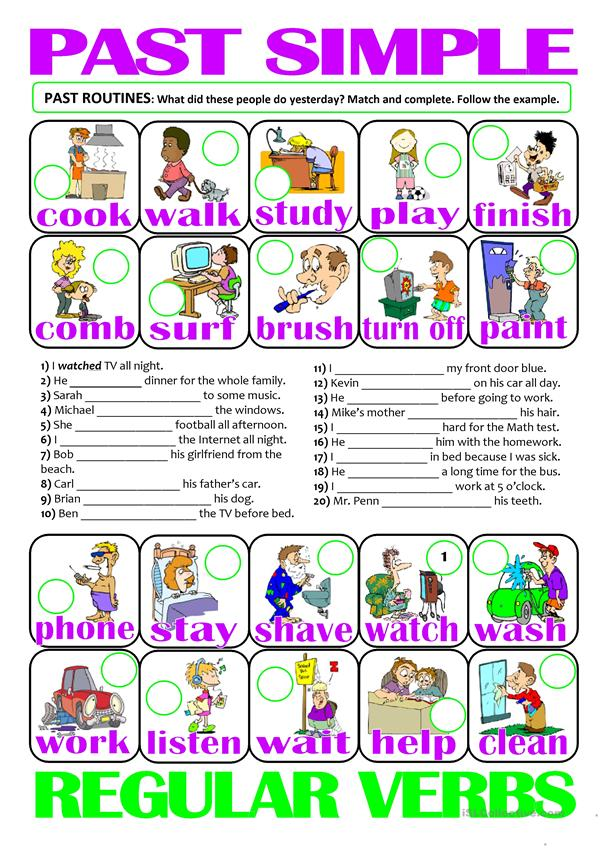 PAST SIMPLE - regular verbs (past routines)