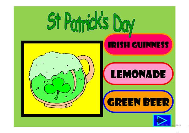 Saint Patrick's day vocabulary: multiple choice quiz