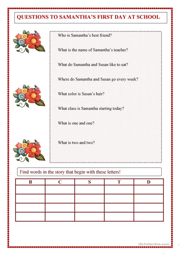 Samantha's First Day at School - English ESL Worksheets
