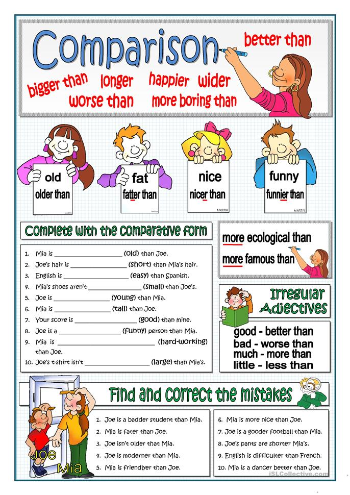 Printables Comparison Shopping Worksheets 56 free esl comparison comparative adjectives and structures basic comparison