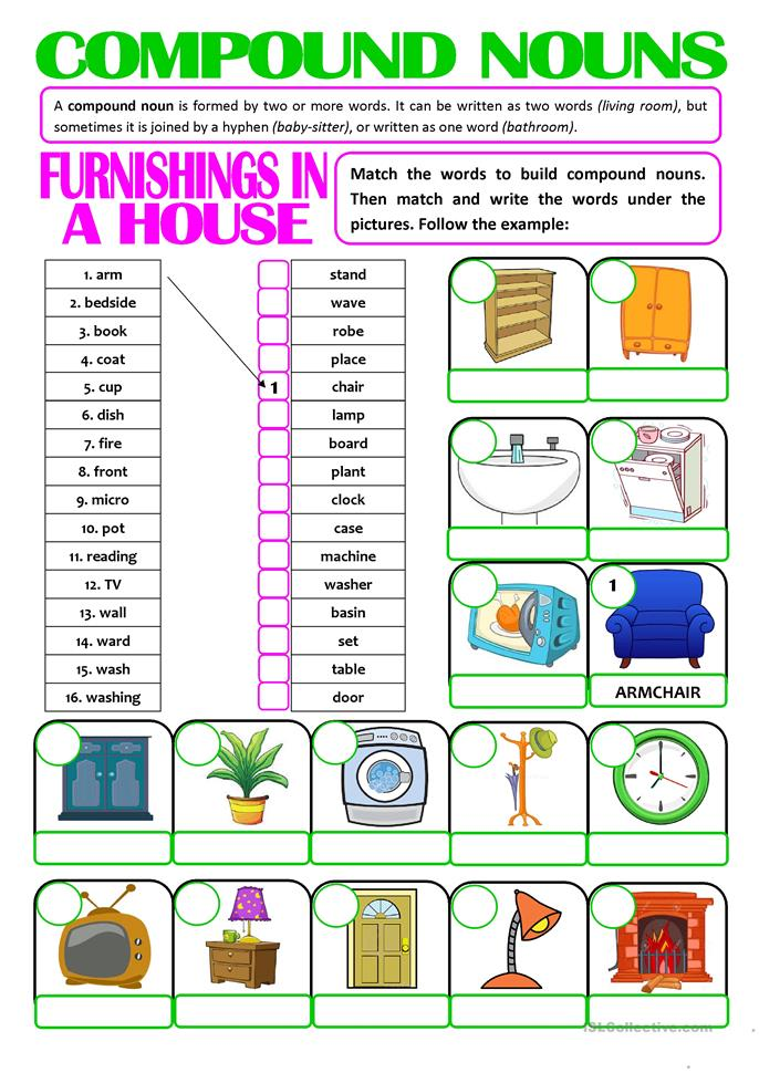 Worksheet Compound Nouns Worksheet 17 free esl compound nouns worksheets furnishings in a house