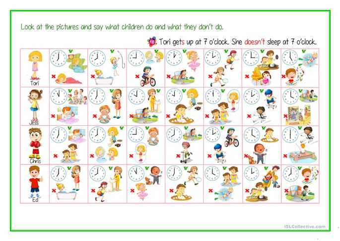 Daily Routine, Free Time Activities + Telling Time - 3d person sing... - ESL worksheets