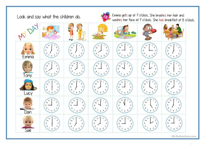 Daily Routines+Telling the Time worksheet - Free ESL printable ...