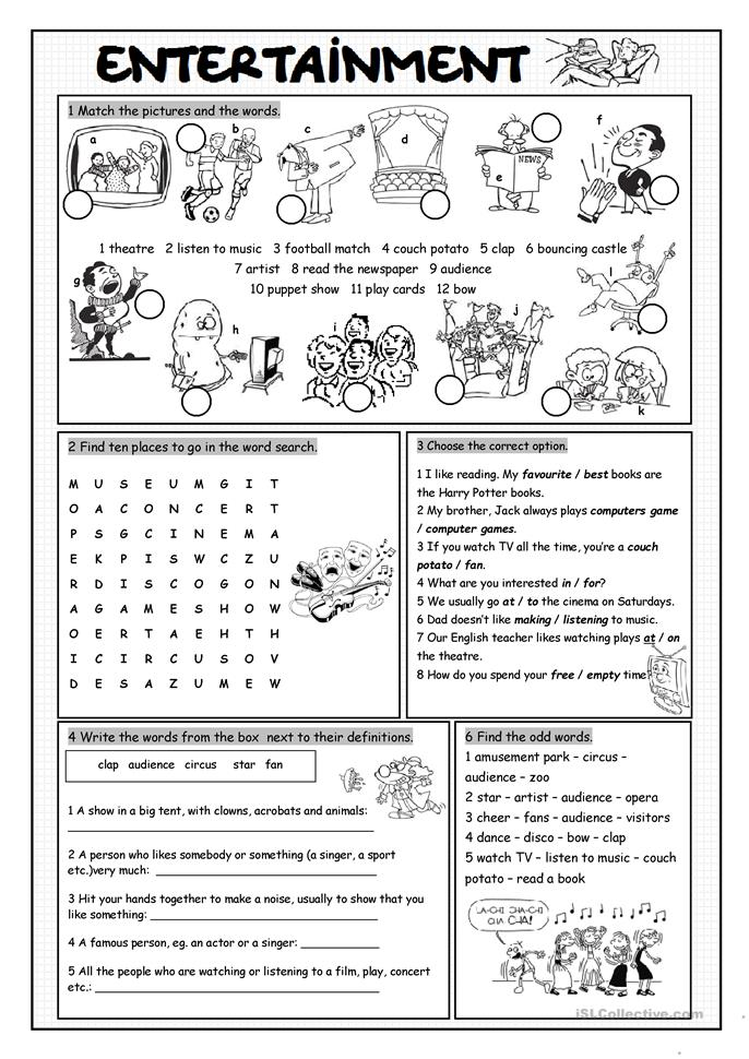 Worksheets Esl Worksheets Elementary 26 free esl entertainment worksheets vocabulary exercises exercises