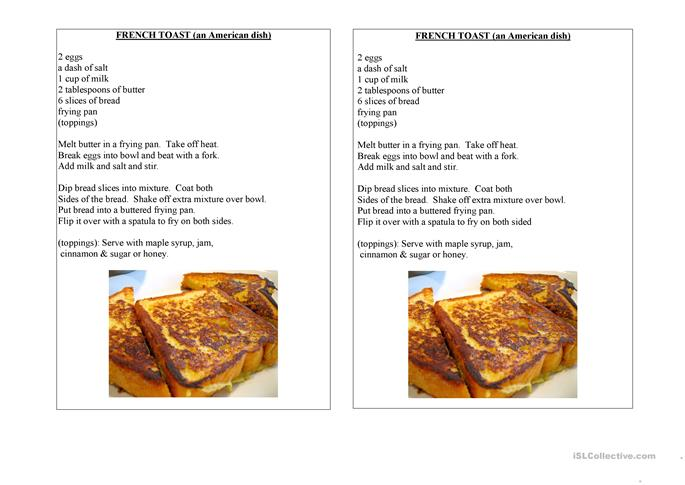 french toast an american dish worksheet free esl printable worksheets made by teachers. Black Bedroom Furniture Sets. Home Design Ideas