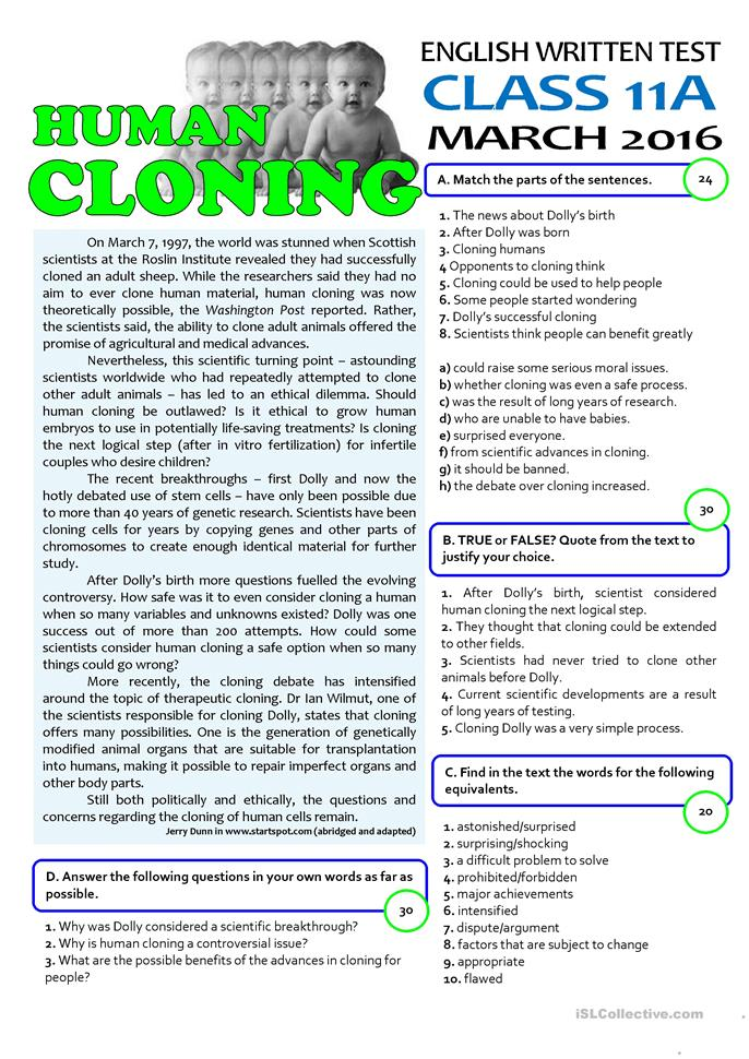 the question of whether human cloning should or should not be allowed