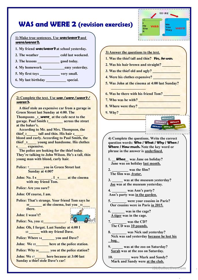 was and were 2 revision exercises worksheet free esl printable worksheets made by teachers. Black Bedroom Furniture Sets. Home Design Ideas