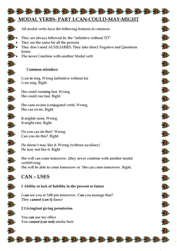 MODAL VERBS- PART 1:CAN-COULD-MAY-MIGHT - English ESL Worksheets For  Distance Learning And Physical Classrooms