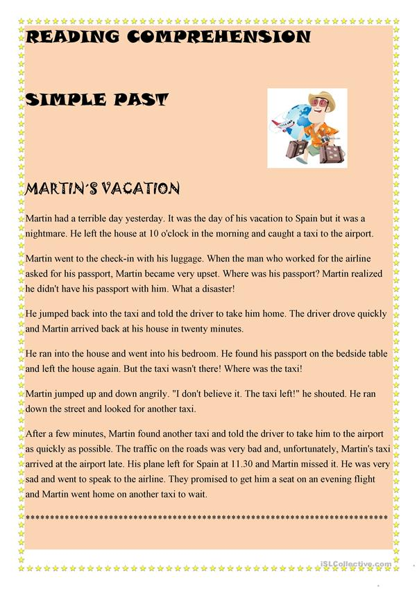 Simple Past Reading Comprehension - English ESL Worksheets For Distance  Learning And Physical Classrooms