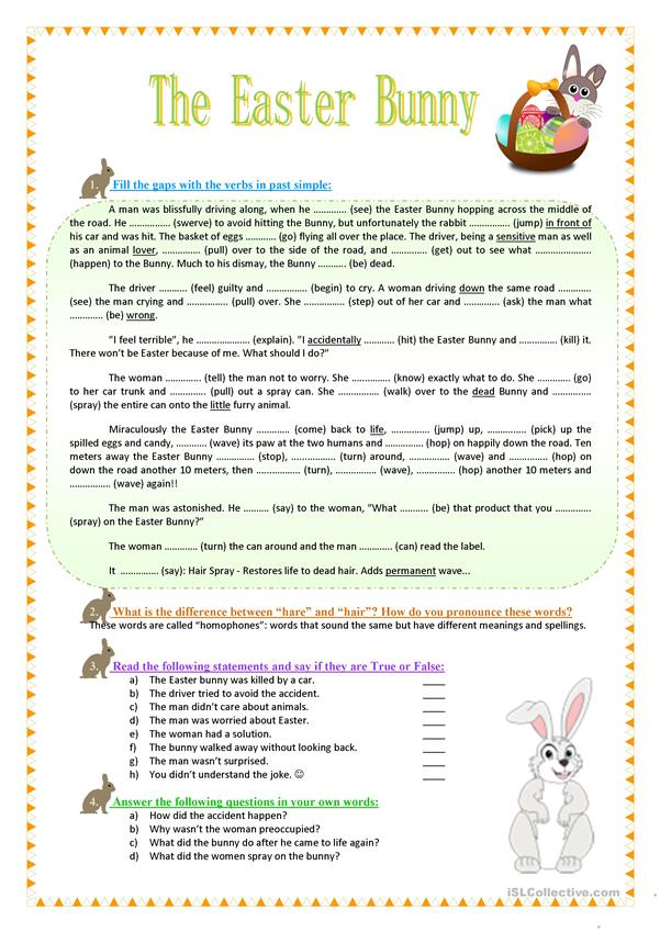 The Easter Bunny - Funny Reading, Grammar, Vocabulary - English ESL  Worksheets For Distance Learning And Physical Classrooms