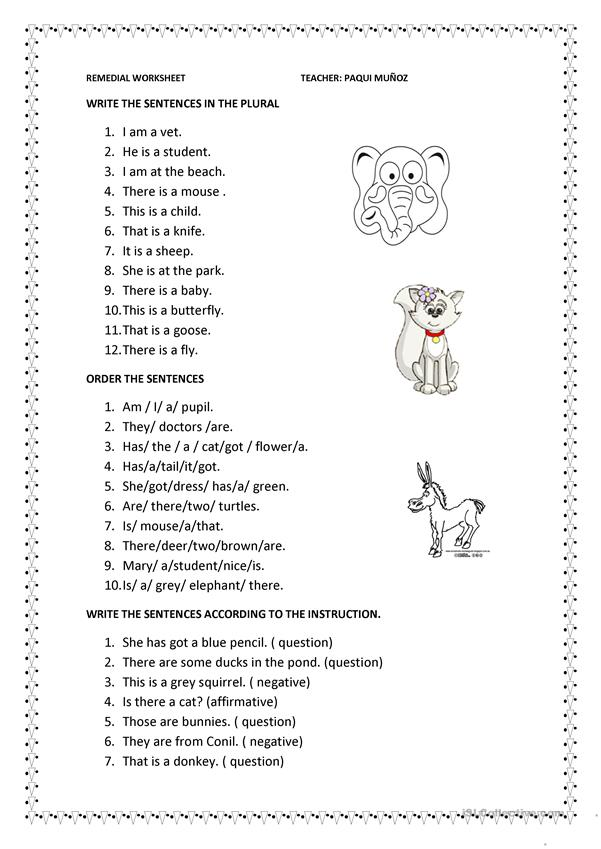 To Be And Have Got Remedial Worksheet English Esl Worksheets