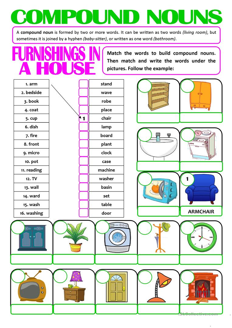 Worksheets Compound Nouns Worksheet 50 000 free esl efl worksheets made by teachers for compound nouns furnishings in a house