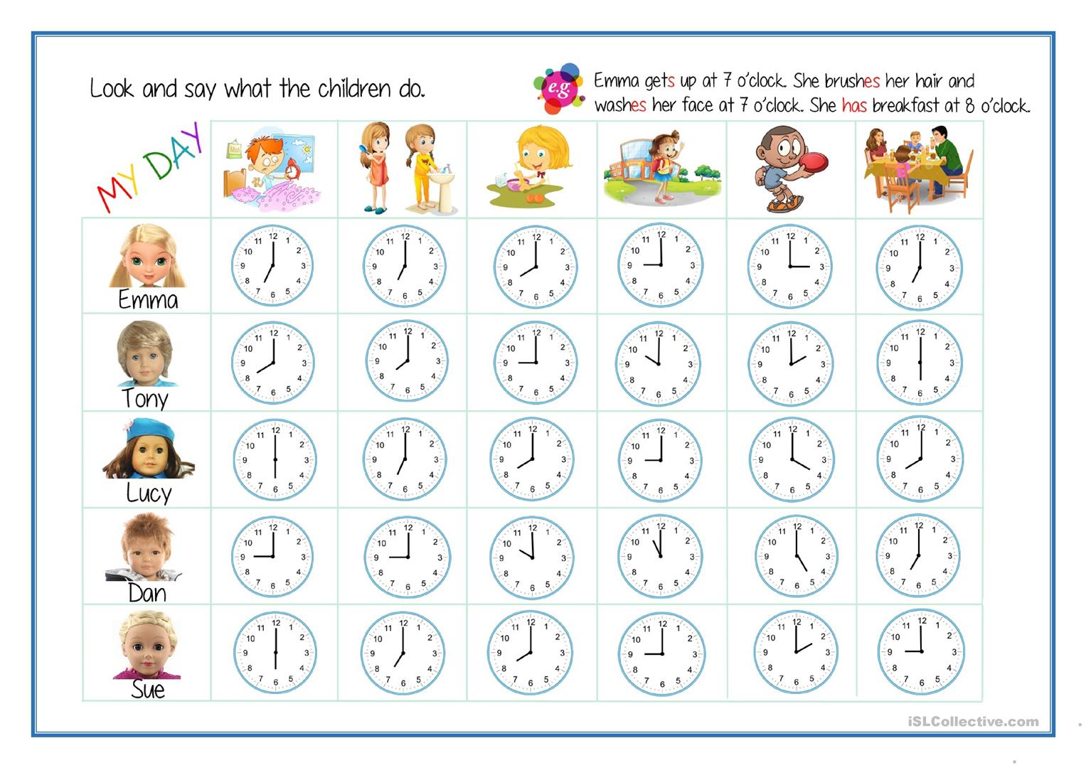 daily routines telling the time worksheet free esl printable worksheets made by teachers. Black Bedroom Furniture Sets. Home Design Ideas