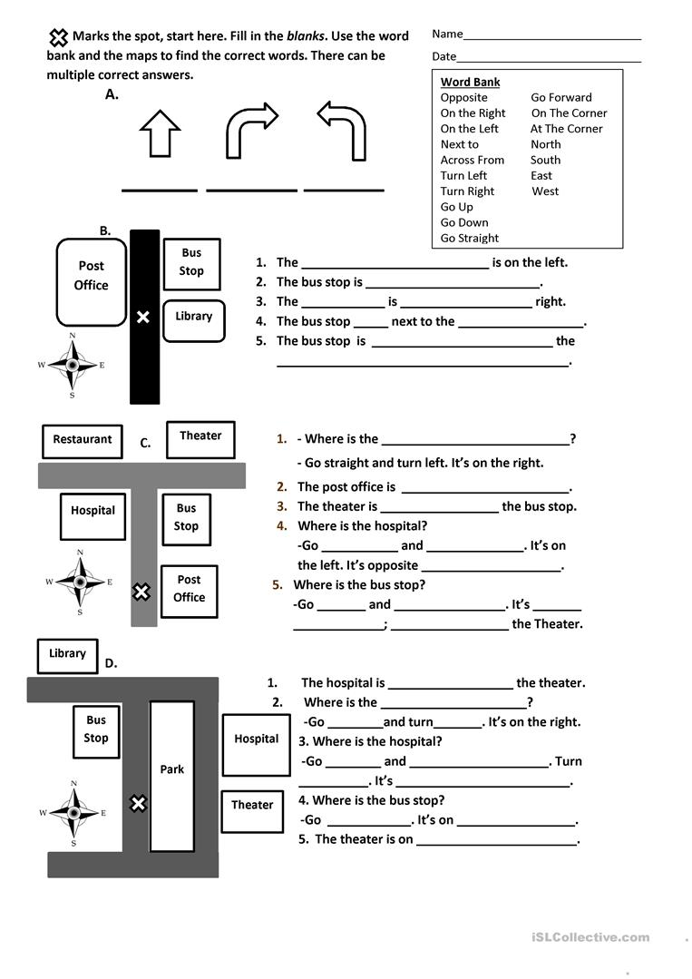 Directions, Prepositions and Maps Worksheet worksheet - Free ESL ...