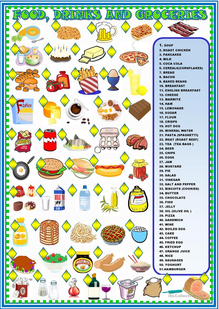 food drinks worksheets matching groceries esl worksheet printable adults printables screen resources elementary islcollective learning special