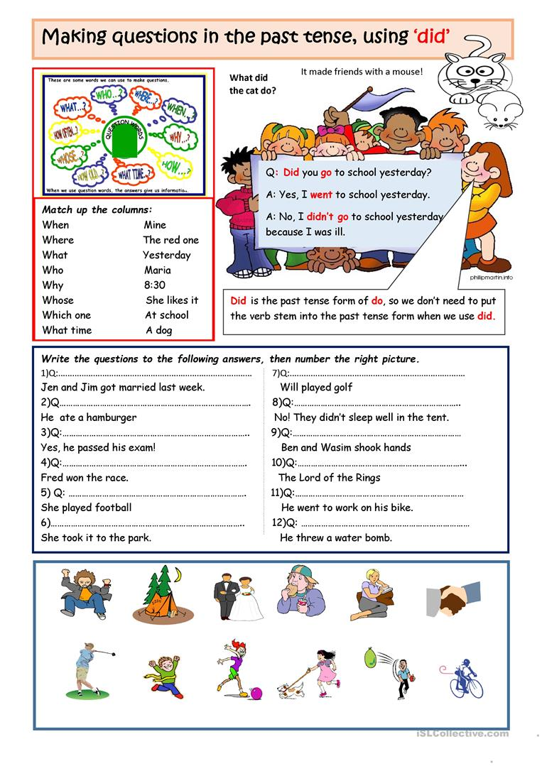Making questions with 'DID' - English ESL Worksheets