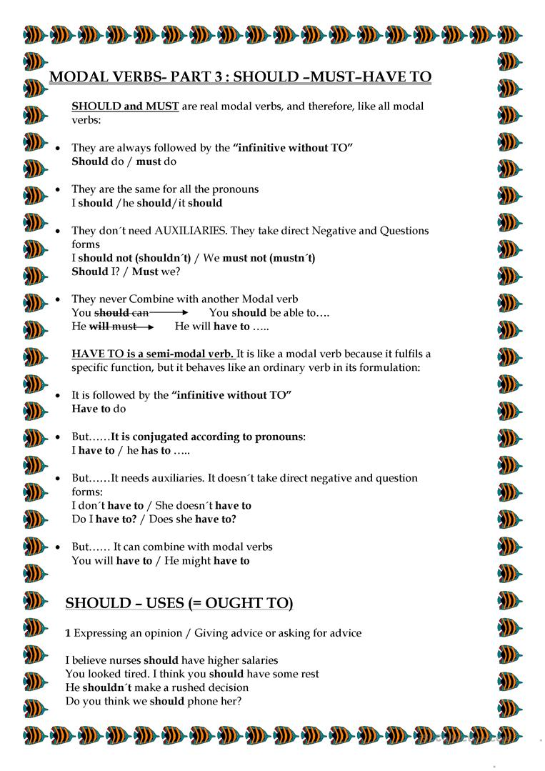 Modal Verbs Part 3 Should Must Have To Worksheet Free Esl