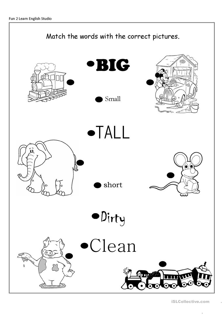 opposite adjectives big small short long clean dirty worksheet free esl printable worksheets. Black Bedroom Furniture Sets. Home Design Ideas